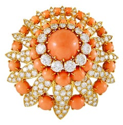 Van Cleef & Arpels Diamond, Cabochon Coral Brooch