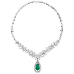 Van Cleef & Arpels Diamond Cabochon Emerald Pendant Necklace or Bracelet