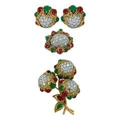 Van Cleef & Arpels Diamond, Cabochon Emerald, Ruby Earrings Suite