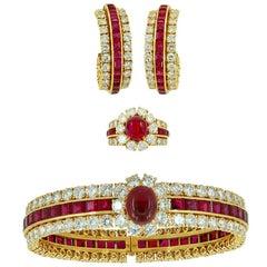 Van Cleef & Arpels Diamond Cabochon Ruby Bangle Earrings Ring Set