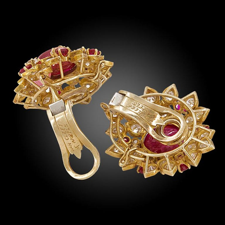 Round Cut Van Cleef & Arpels Diamond Cabochon Ruby Yellow Gold Ear Clips For Sale
