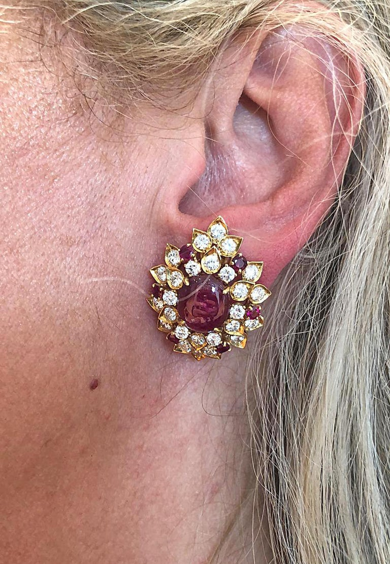 Women's Van Cleef & Arpels Diamond Cabochon Ruby Yellow Gold Ear Clips For Sale