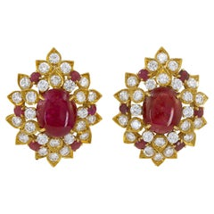 Van Cleef & Arpels Diamond, Cabochon Ruby Ear Clips