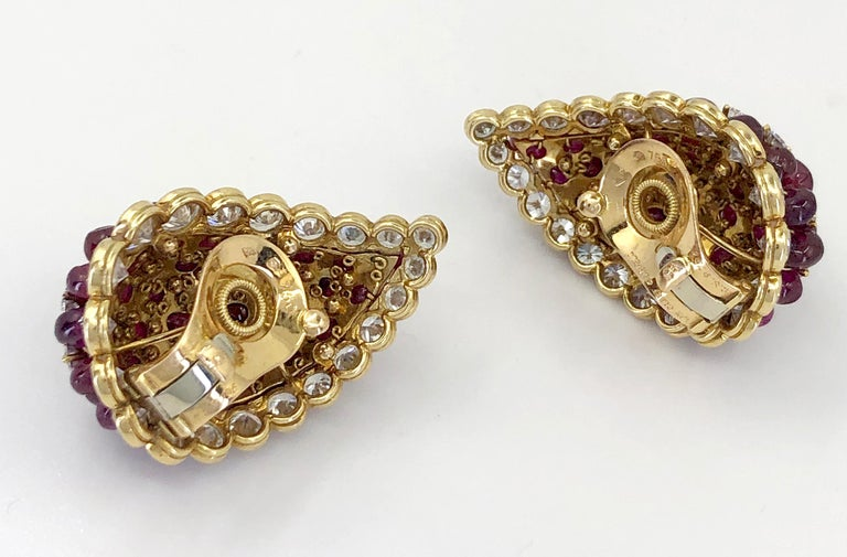 Van Cleef & Arpels Diamond, Cabochon Ruby Earrings In Good Condition For Sale In New York, NY