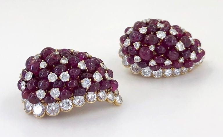 Women's Van Cleef & Arpels Diamond, Cabochon Ruby Earrings For Sale