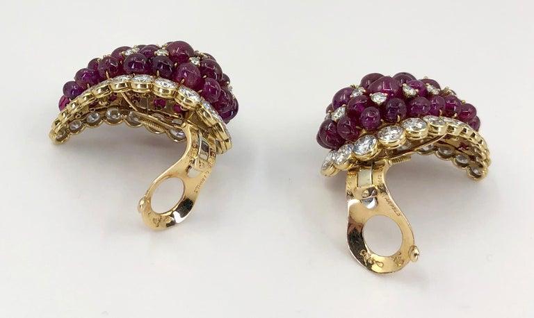 Van Cleef & Arpels Diamond, Cabochon Ruby Earrings For Sale 1