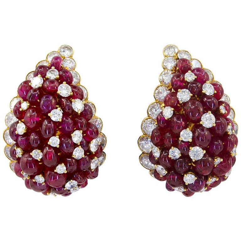 Van Cleef & Arpels Diamond, Cabochon Ruby Earrings For Sale