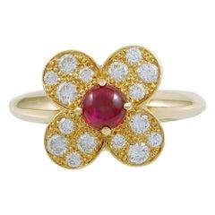 Van Cleef & Arpels Trefle Diamond Ruby Ring