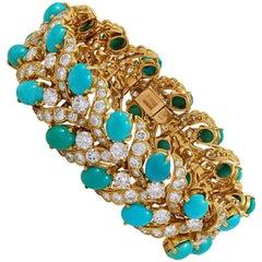 Van Cleef & Arpels Diamond, Cabochon Turquoise Bracelet