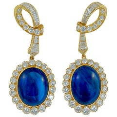 Van Cleef & Arpels Diamond and Ceylon Sapphire Ear Clips