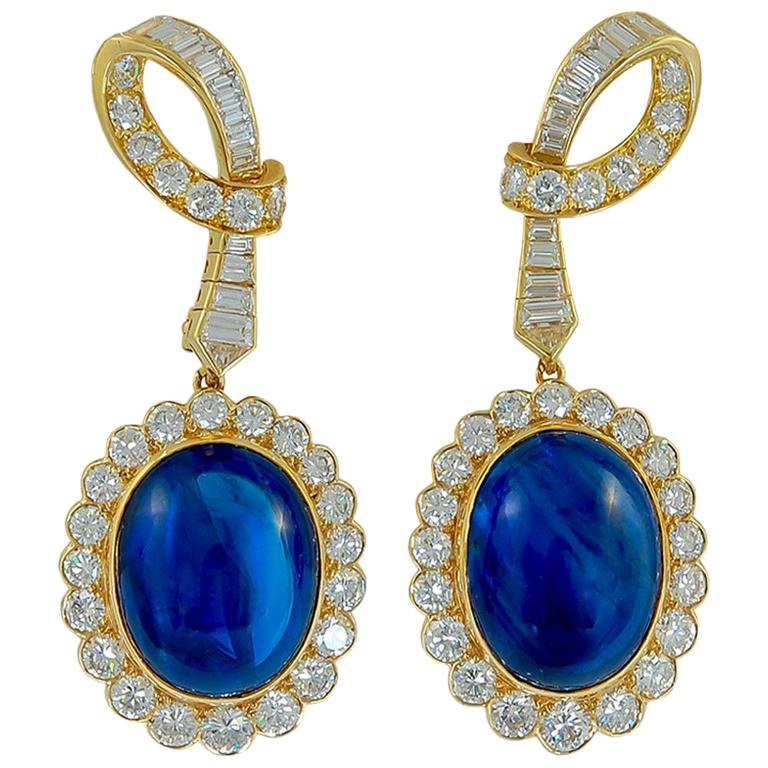 Van Cleef & Arpels Diamond and Ceylon Sapphire Ear Clips For Sale
