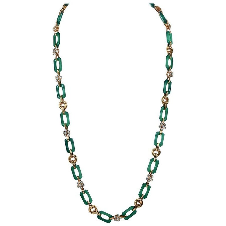 Van Cleef & Arpels Diamond, Chrysoprase Long Necklace For Sale