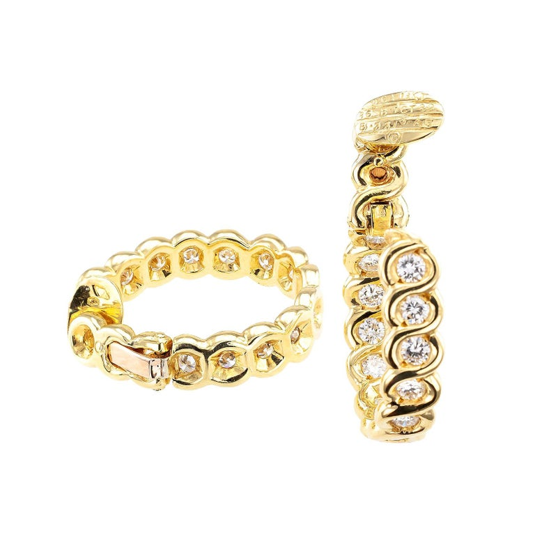 Contemporary Van Cleef & Arpels Diamond Clip-On Hoop Earring  For Sale