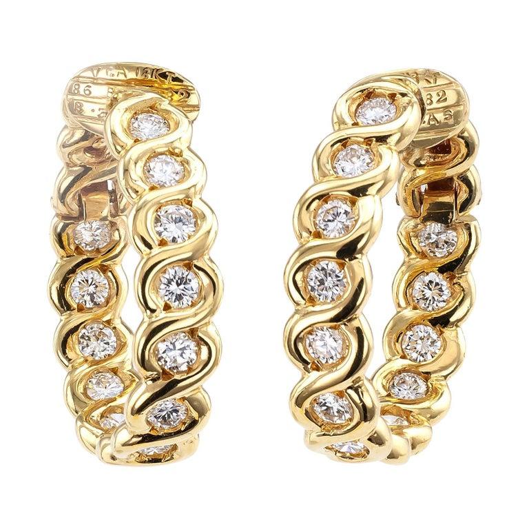 Van Cleef & Arpels Diamond Clip-On Hoop Earring  For Sale