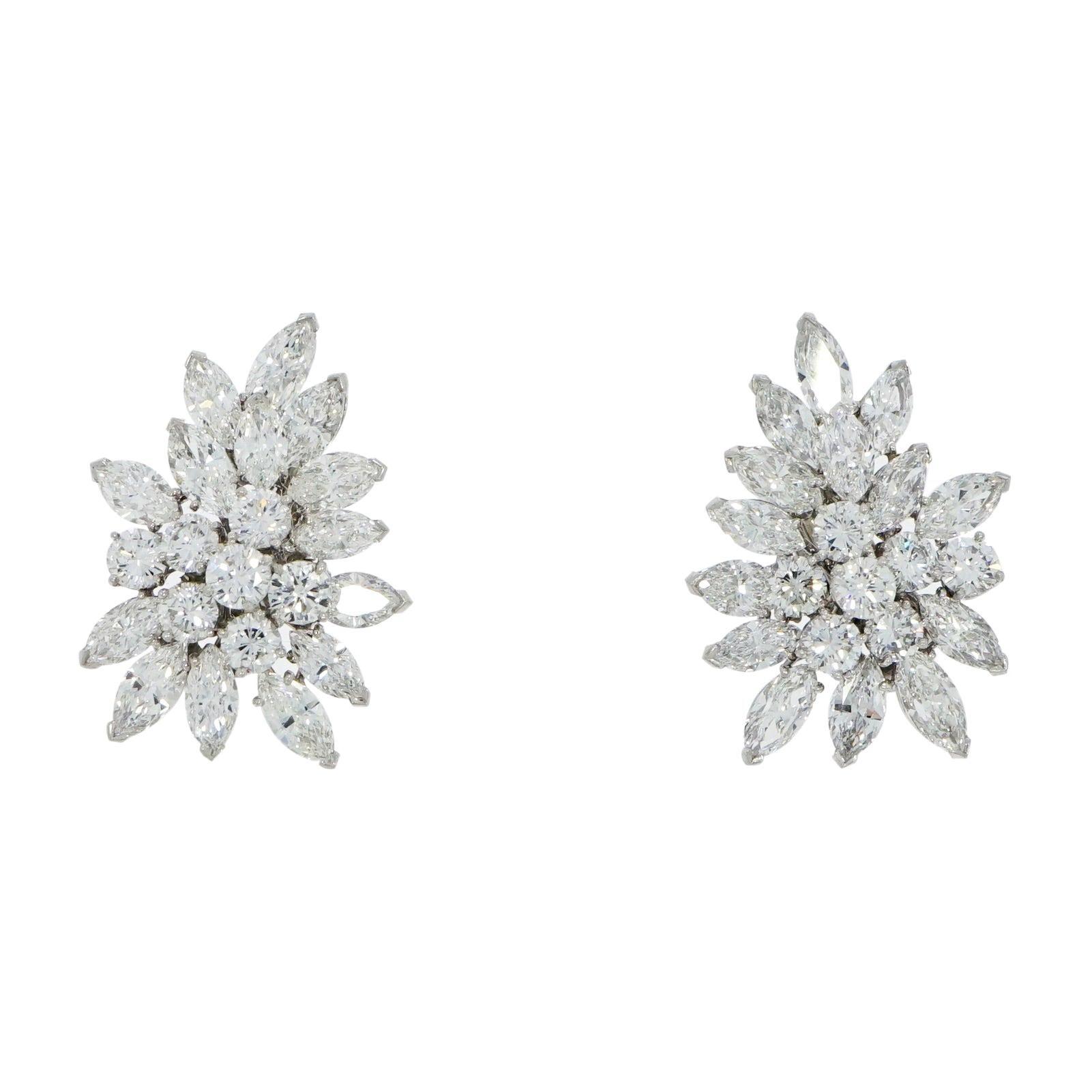 Van Cleef & Arpels Diamond Cluster Platinum Earrings