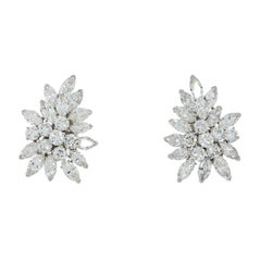 Van Cleef & Arpels Diamond Cluster Platinum Earrings