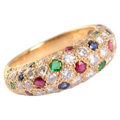 Van Cleef & Arpels Diamond Cocktail Ring with Rubies, Sapphires and Emeralds