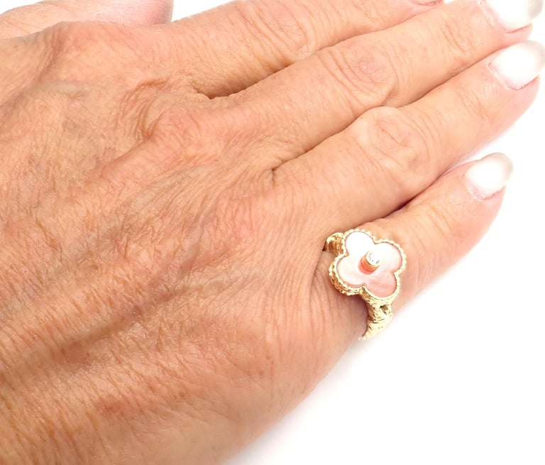 Van Cleef & Arpels Diamond Coral Alhambra Yellow Gold Ring For Sale 6