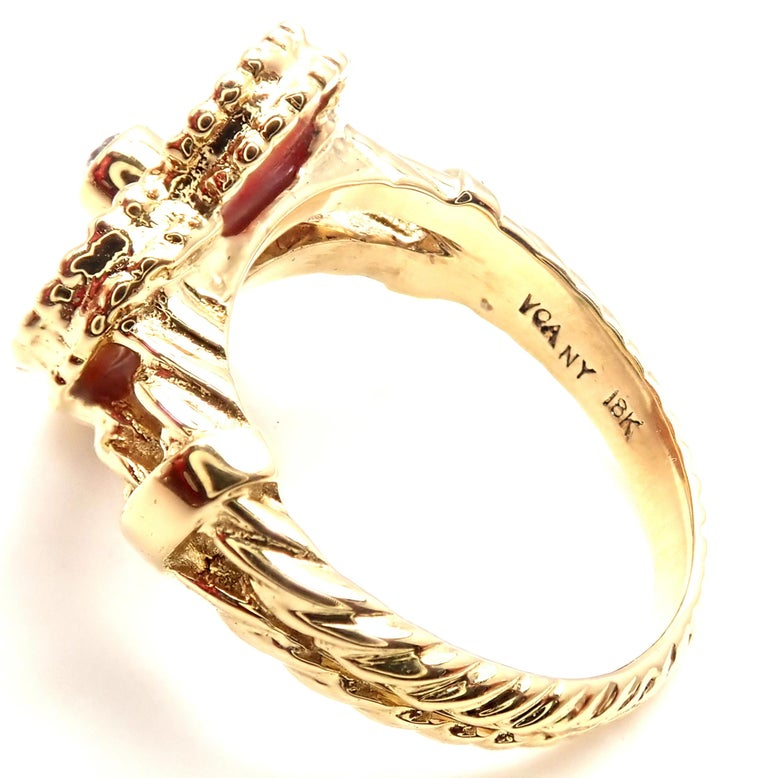 Van Cleef & Arpels Diamond Coral Alhambra Yellow Gold Ring For Sale 1