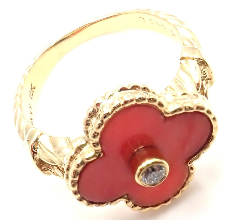 Van Cleef & Arpels Diamond Coral Alhambra Yellow Gold Ring For Sale 4