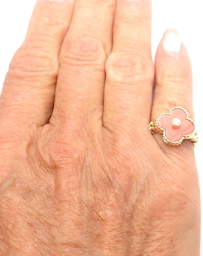 Van Cleef & Arpels Diamond Coral Alhambra Yellow Gold Ring For Sale 5