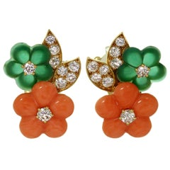 Van Cleef & Arpels Diamond Coral Chalcedony Yellow Gold Flower Earrings