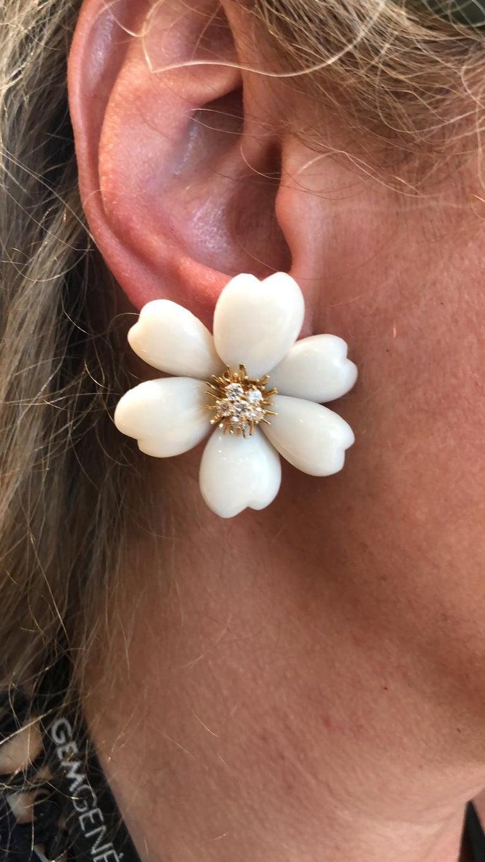 Round Cut Van Cleef & Arpels Diamond Coral Yellow Gold Rose de Noël Earrings For Sale