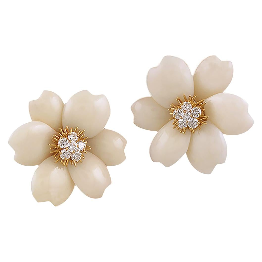 Van Cleef & Arpels Diamond Coral Yellow Gold Rose de Noël Earrings
