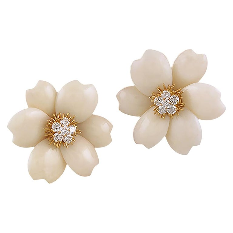 Van Cleef & Arpels Diamond Coral Yellow Gold Rose de Noël Earrings For Sale