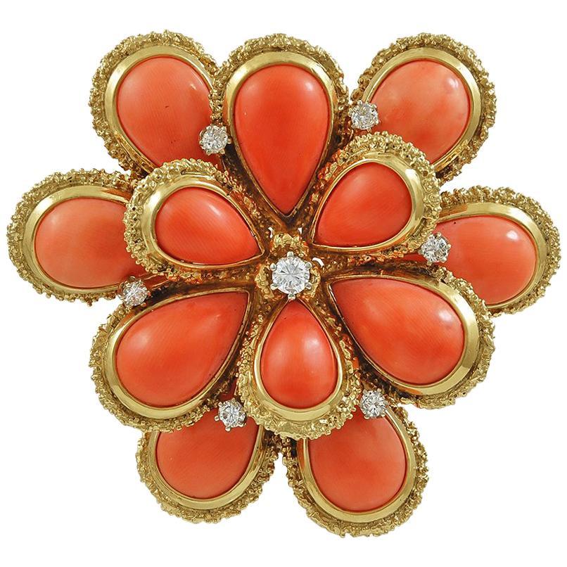 Van Cleef & Arpels Diamond Coral Flower Pendant Brooch