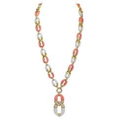 Van Cleef & Arpels Diamond Coral Pendant Necklace