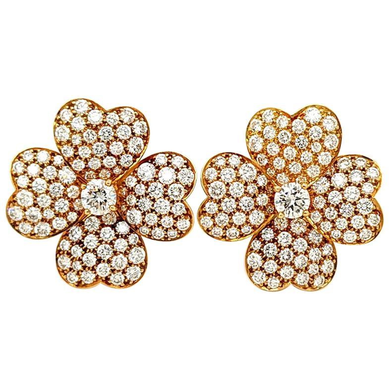 Van Cleef & Arpels Diamond Cosmos Earrings, Large Model