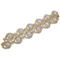 Van Cleef & Arpels Diamond Cultured Pearl Yellow Gold Bracelet