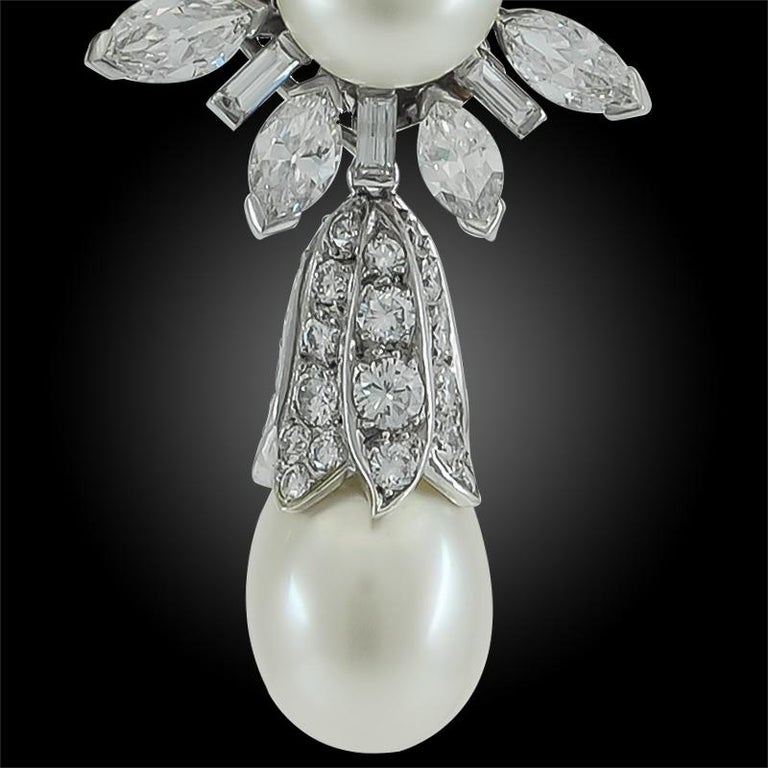 Round Cut Van Cleef & Arpels Diamond, Cultured Pearl Earrings For Sale