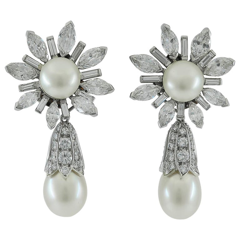 Van Cleef & Arpels Diamond, Cultured Pearl Earrings For Sale