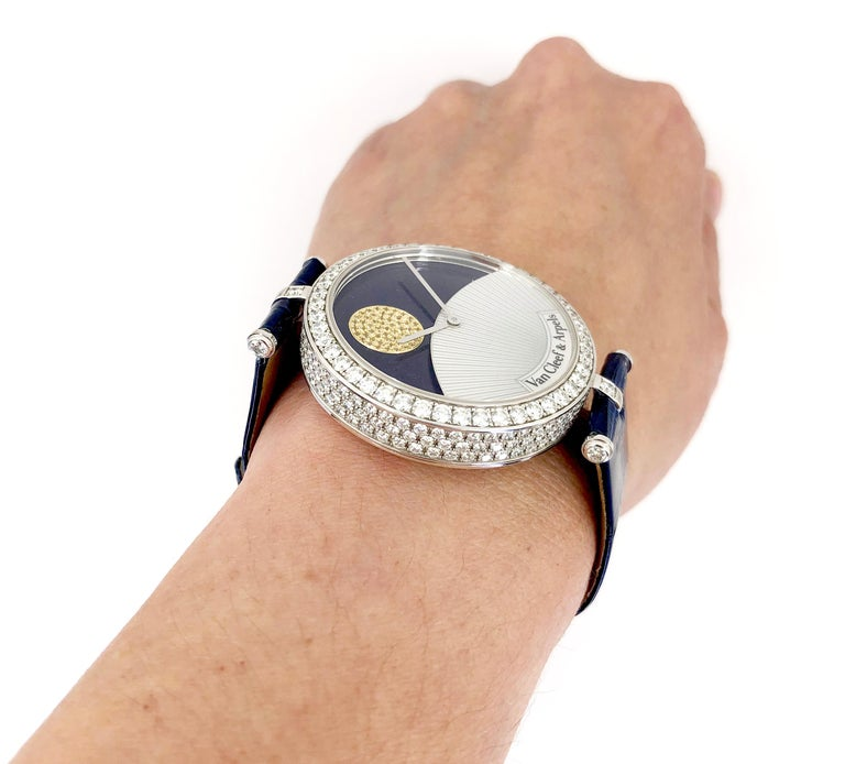 Round Cut Van Cleef & Arpels Diamond Day and Night Watch For Sale