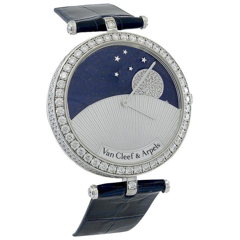 Van Cleef & Arpels Diamond Day and Night Watch For Sale