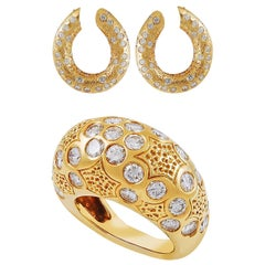 Van Cleef & Arpels Diamond Yellow Gold Demi-Parure Earrings and Ring
