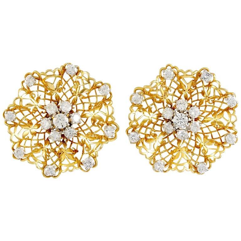 Van Cleef & Arpels Diamond Dentelle Ear Clips For Sale
