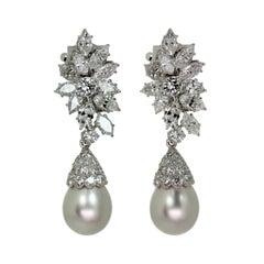 Van Cleef & Arpels Diamond Detachable Cultured Pearl Drop Clip-On Earrings