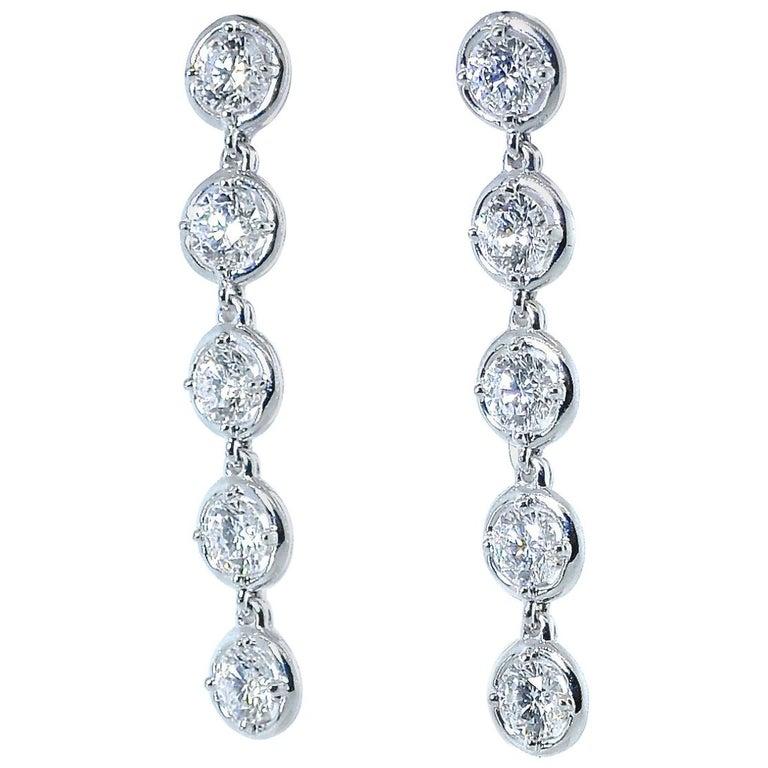Van Cleef & Arpels Diamond Earrings, French For Sale