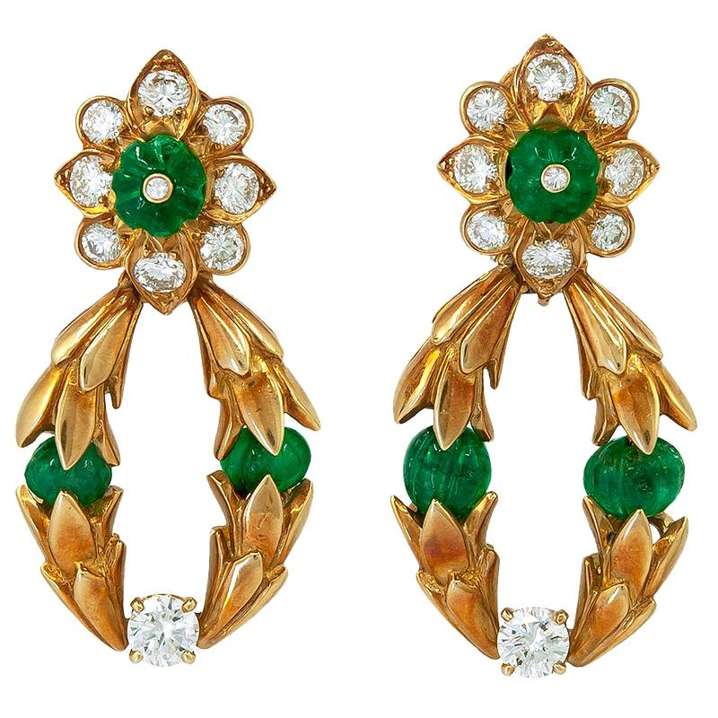 Van Cleef & Arpels Diamond, Emerald Earrings