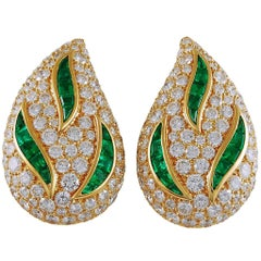 Van Cleef & Arpels Diamond, Emerald Pear-Shaped Motif Ear Clips