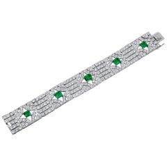 Van Cleef & Arpels Diamond, Five Emerald Bracelet