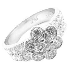 Van Cleef & Arpels Diamond Fleurette Flower Platinum Ring