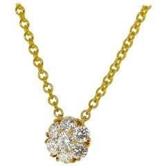 Van Cleef & Arpels Diamond Fleurette Pendant Necklace SM 18 Karat Yellow Gold