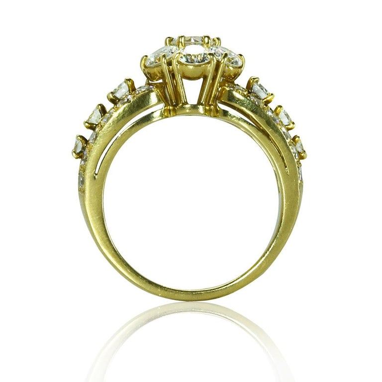 VCA Diamond Fleurette Ring Round Brilliant Diamonds approximately 2.00 carats total weight Stamped 'NY 58716' 18 Karat Yellow Gold , Ring size 5