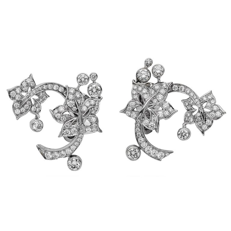 Round Cut Van Cleef & Arpels Diamond Floral White Gold Earrings For Sale