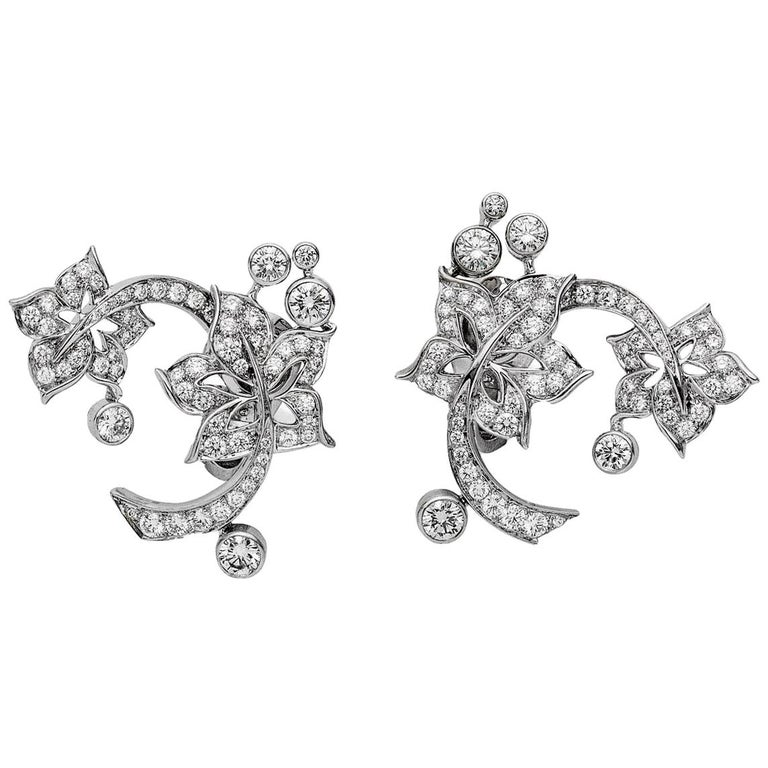 Van Cleef & Arpels Diamond Floral White Gold Earrings For Sale