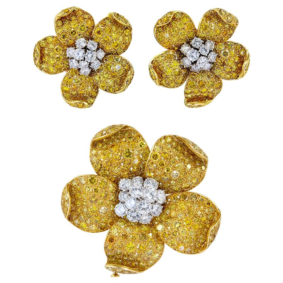 Van Cleef & Arpels Diamond Flower Earrings, Brooch
